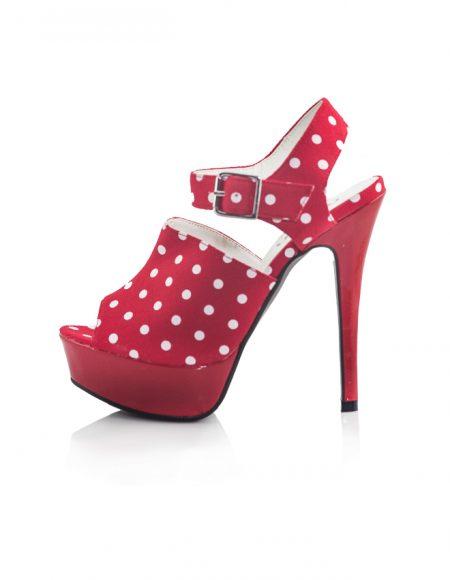 Beyaz Puanlı Platform Topuk Kırmızı Ayakkabı 2