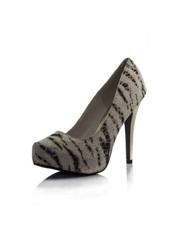 Kar Kaplanı Desenli Topuklu Pump Ayakkabı