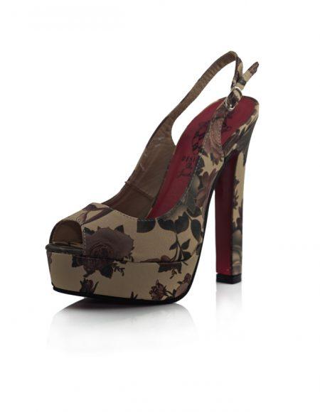 Floral Desen Açık Uç Topuklu Pump Ayakkabı