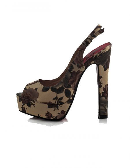 Floral Desen Açık Uç Topuklu Pump Ayakkabı 2