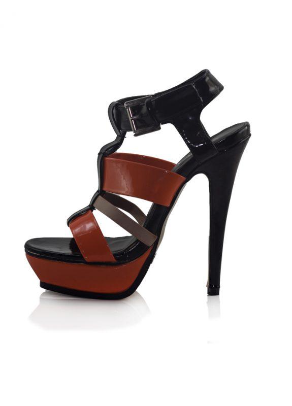 Oranj Siyah Platform Topuklu Açık Ayakkabı 2